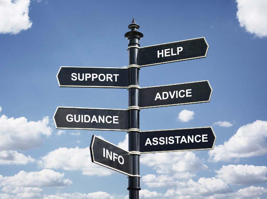 Signpost (help, support, advice, guidance, assistance, info)